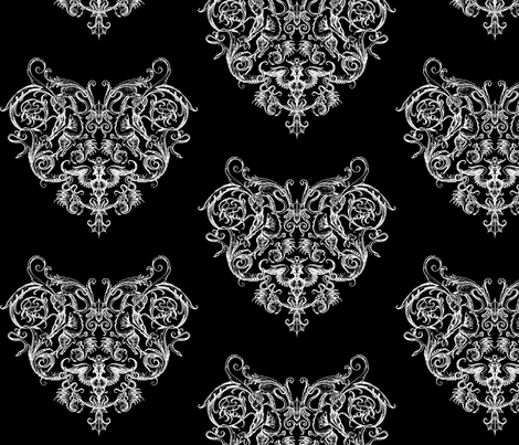 Gothic Grotesquerie Heart fabric by ophelia on Spoonflower - custom fabric