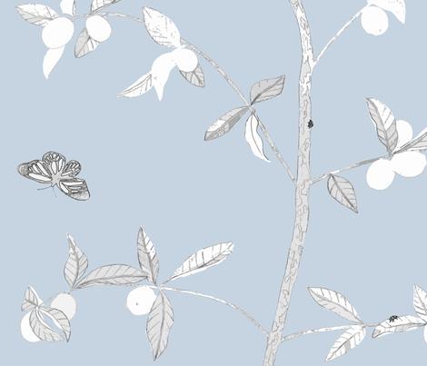 Jenny Modern kumquat on cornflower fabric by domesticate on Spoonflower - custom fabric