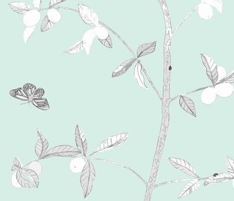 Jenny Modern kumquat on mint fabric by domesticate on Spoonflower - custom fabric