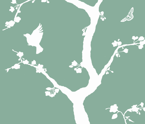Jenny Simple cherry blossoms on jade fabric by domesticate on Spoonflower - custom fabric