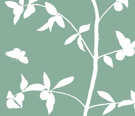 Jenny Simple kumquat on jade fabric by domesticate on Spoonflower - custom fabric