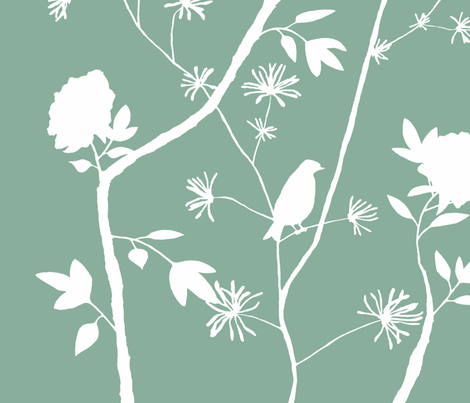 Jenny Simple peony on jade fabric by domesticate on Spoonflower - custom fabric