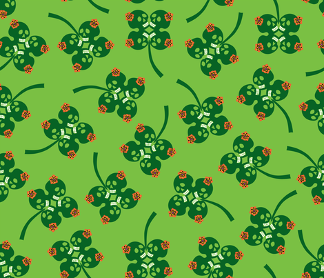 skelly shamrocks fabric by skellychic on Spoonflower - custom fabric