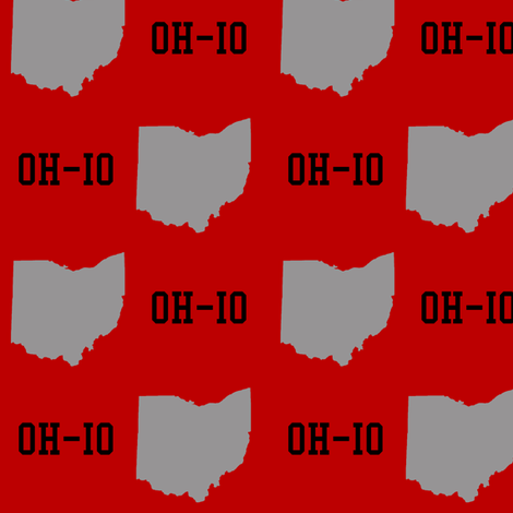 OH-IO red fabric by olioh on Spoonflower - custom fabric