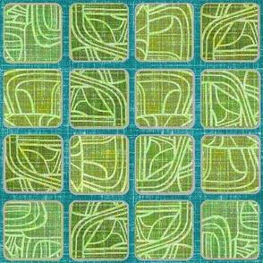 Linen Mod Squares Green