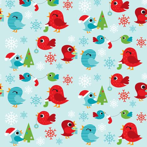 Holiday Birdies Blue fabric by boredinc on Spoonflower - custom fabric