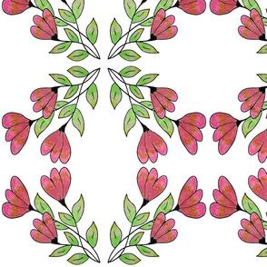 Pink Golden Floral Pattern