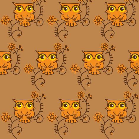 Owls Brown fabric by boredinc on Spoonflower - custom fabric