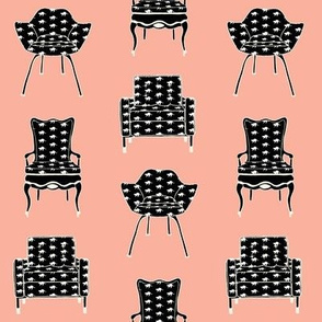 Vintage Chairs with cat fabric