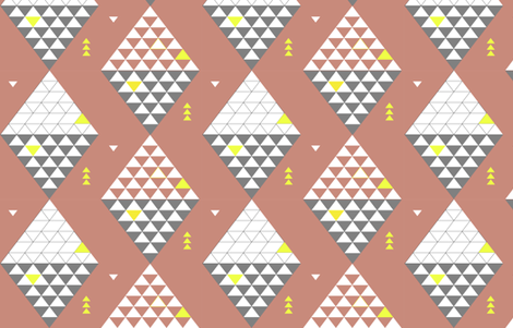 Triangle_Diamond_coral fabric by pip_pottage on Spoonflower - custom fabric