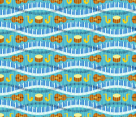 blue notes and golden tones fabric by sef on Spoonflower - custom fabric