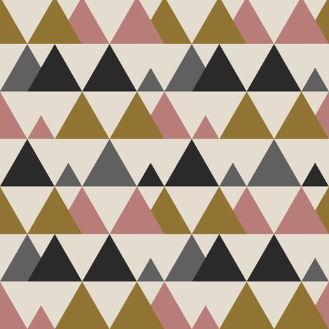 Little Mountains - Gold Pink fabric by kimsa on Spoonflower - custom fabric