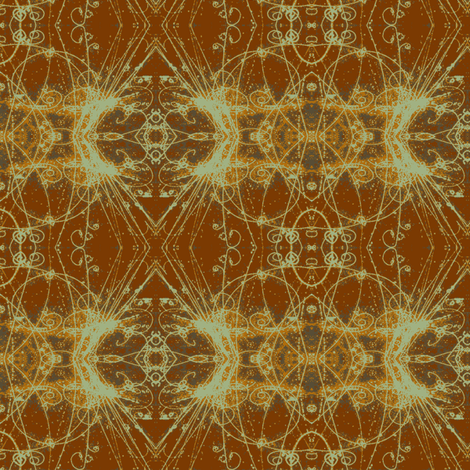 Subatomic Particle Tracks greens and browns fabric by clotilda_warhammer on Spoonflower - custom fabric