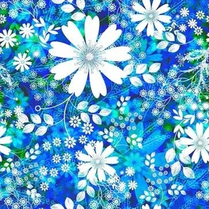 Meadow floral on Sapphire blue