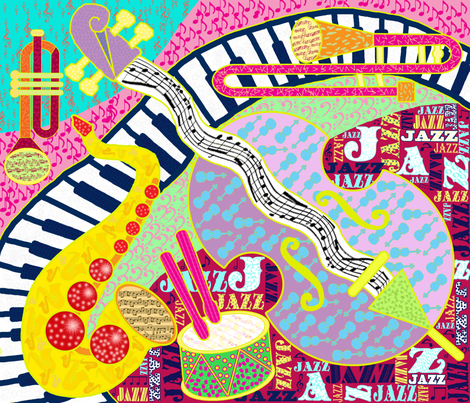 Jazz Cheater Quilt fabric by helenpdesigns on Spoonflower - custom fabric
