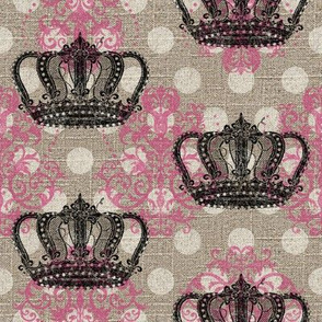 Crowned Damask N' Dots in Bright Pink