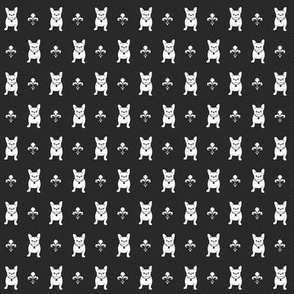 French Bulldog Fleur de Lis MINI PRINT - Charcoal