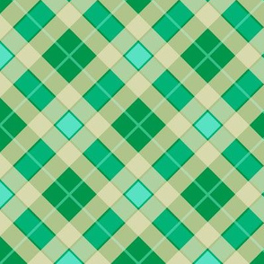 Plaid in Forest Green and Aquamarine Diamonds