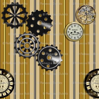 Gears and Clocks on Striped Background in Black and Copper colors