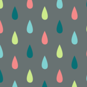 Large Colourful Raindrops on Grey
