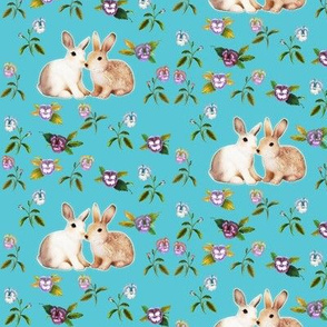 Bunnies in Love Garden, Turquoise Floral