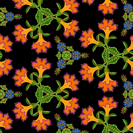 Orange Trumpet FLowers on black fabric by selenaanne on Spoonflower - custom fabric