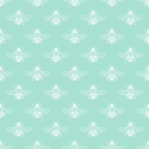 Baby Bee White on Seafoam
