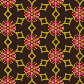 Diamond and Flowers on brown