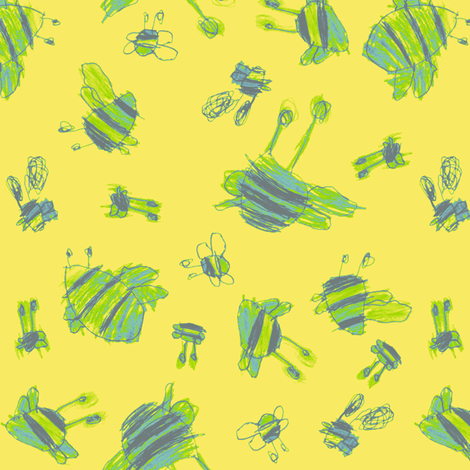 Bubbie's Flights of Fancy Bees fabric by weavingmajor on Spoonflower - custom fabric