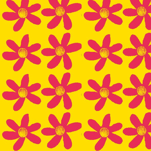 large red flowers on yellow background