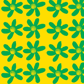 large green flowers on yellow background-ch