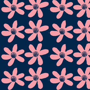 large pink flowers on blue background-ch-ch-ch-ch