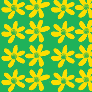 large yellow flowers on green background-ch-ch-ch-ch-ch-ch