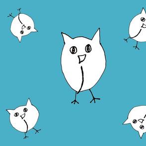 Tossed Owls Blue