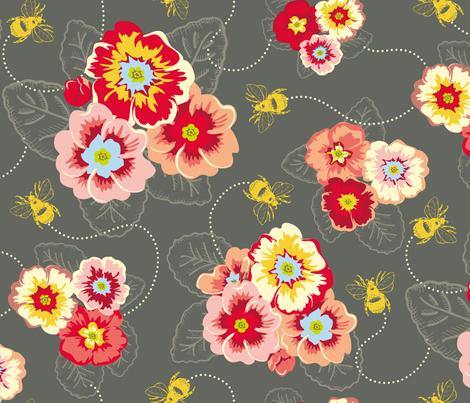 busy bees grey fabric by spaldilocks on Spoonflower - custom fabric