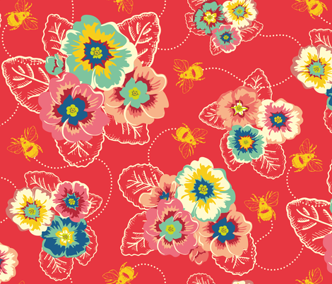 busy bees red fabric by spaldilocks on Spoonflower - custom fabric