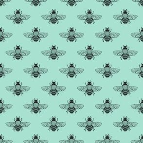 Baby Bee Black on Seafoam
