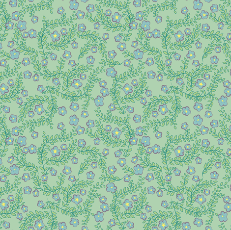 Viney Flowers in light turquoise fabric by selenaanne on Spoonflower - custom fabric