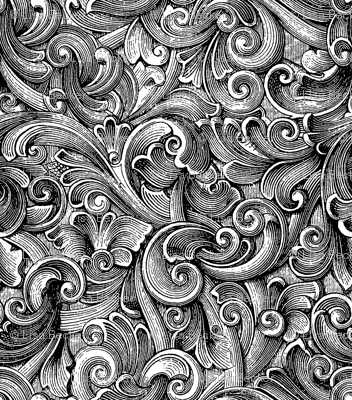 Engraved Swirls 3 Black-White