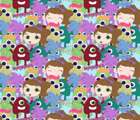 McKenzie's Monster- Fangtastic Fabric fabric by bradlee_scott on Spoonflower - custom fabric