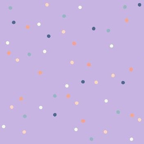 Dotty, Lavender with Peach Cream Blue
