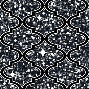 Desert stars in a Moroccan quatrefoil, LARGE repeat, by Su_G