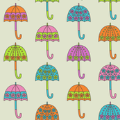 Rainy Day Umbrellas design in bright multi colors D4