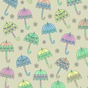 Rainy Day Umbrellas design in pastel colors V2