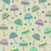 Rainy Day Umbrellas design in pastel colors V3