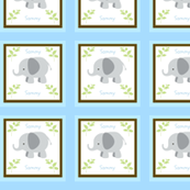 Grey Elephant Blue/Brown Quilt -Personalized