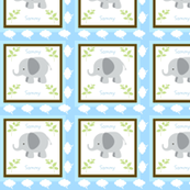 Grey Elephant on Clouds Quilt -Personalized