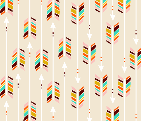 Large Arrows: Ivory fabric by nadiahassan on Spoonflower - custom fabric