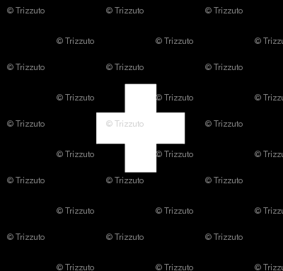 Swiss Cross White on Black