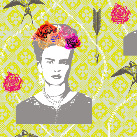 Frida 6 fabric by nouveau_bohemian on Spoonflower - custom fabric